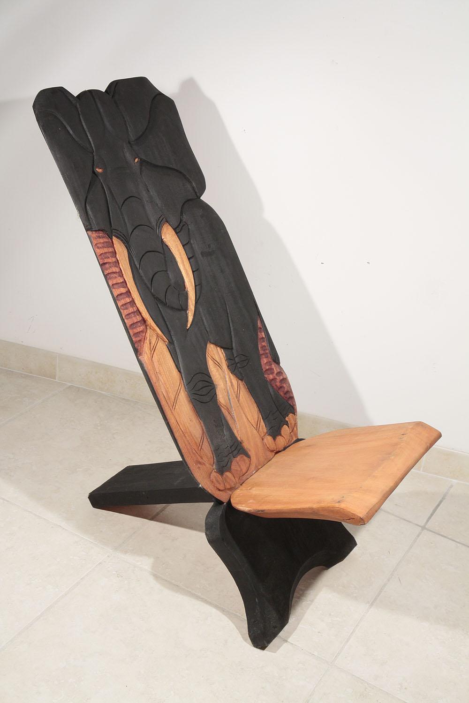 Chaise palabre chaise de gardien l phant noir de c te for Chaise a palabre