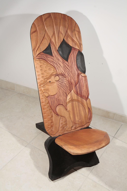 Chaise palabre chaise de gardien lion de c te d 39 ivoire for Chaise a palabre