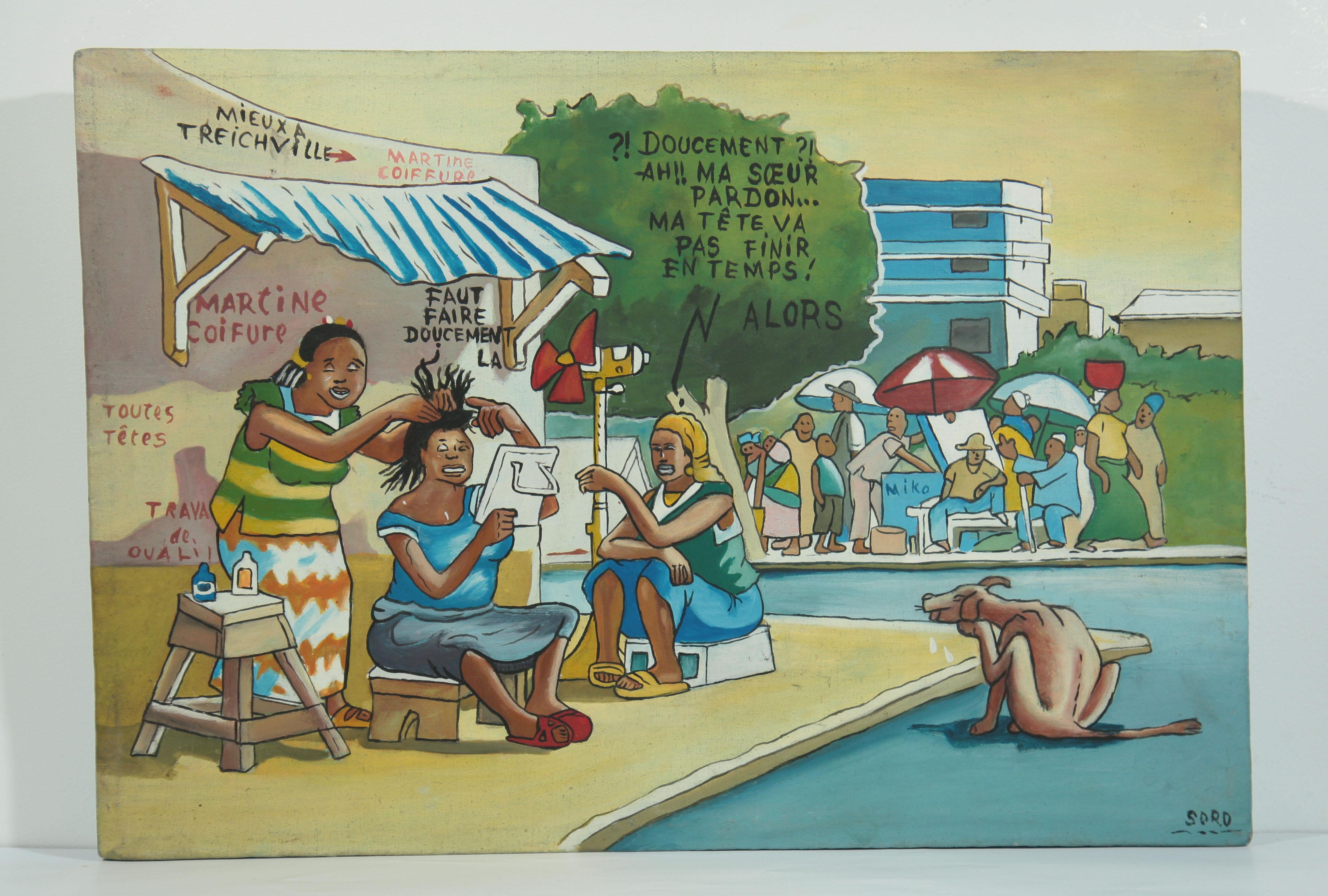 Soro artiste peintre africain de c te d 39 ivoire bon maquis chez la coiffeuse galerie art - Cote d un artiste peintre ...
