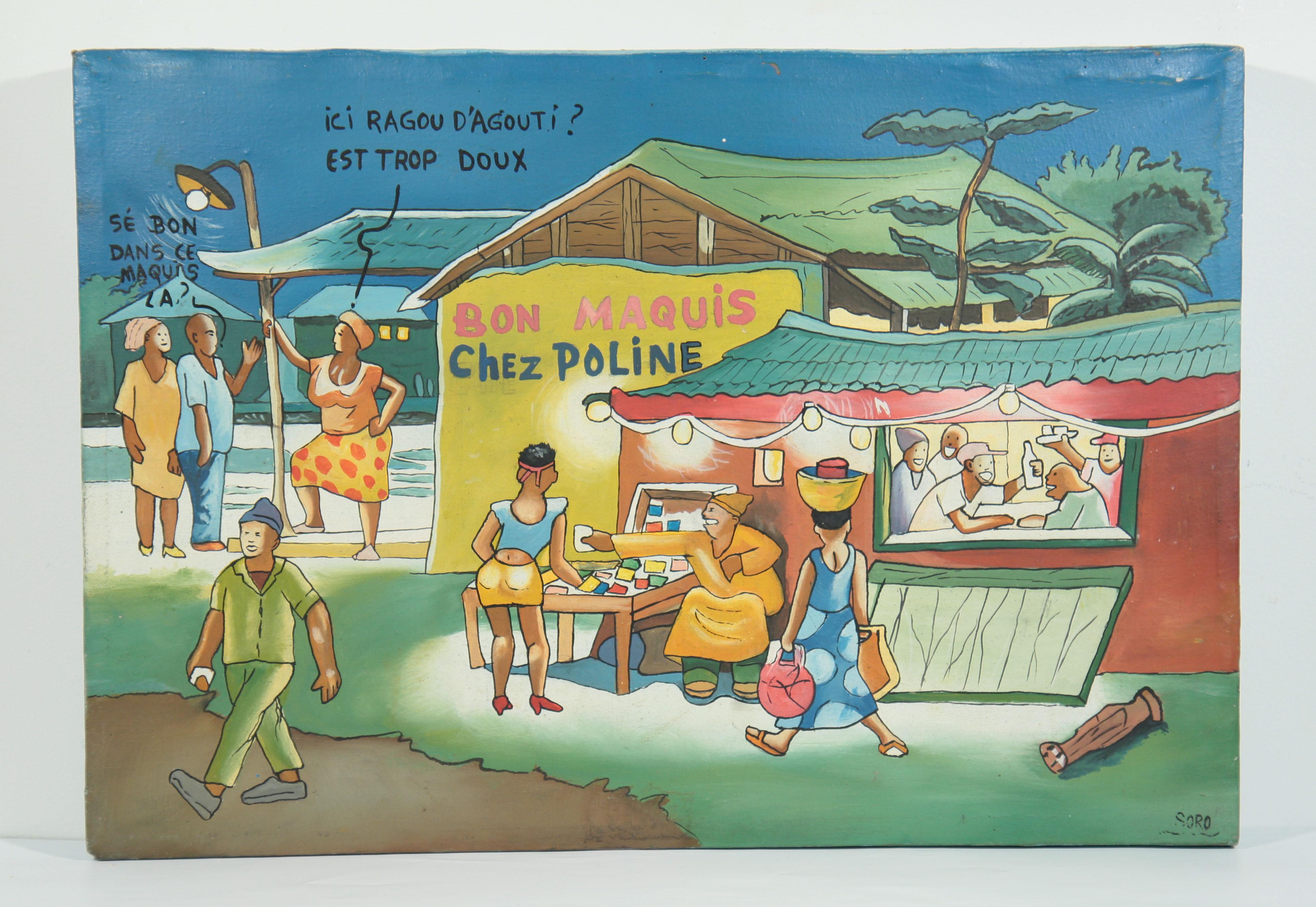 Soro artiste peintre africain de c te d 39 ivoire bon maquis chez poline galerie art africain - Cote d un artiste peintre ...