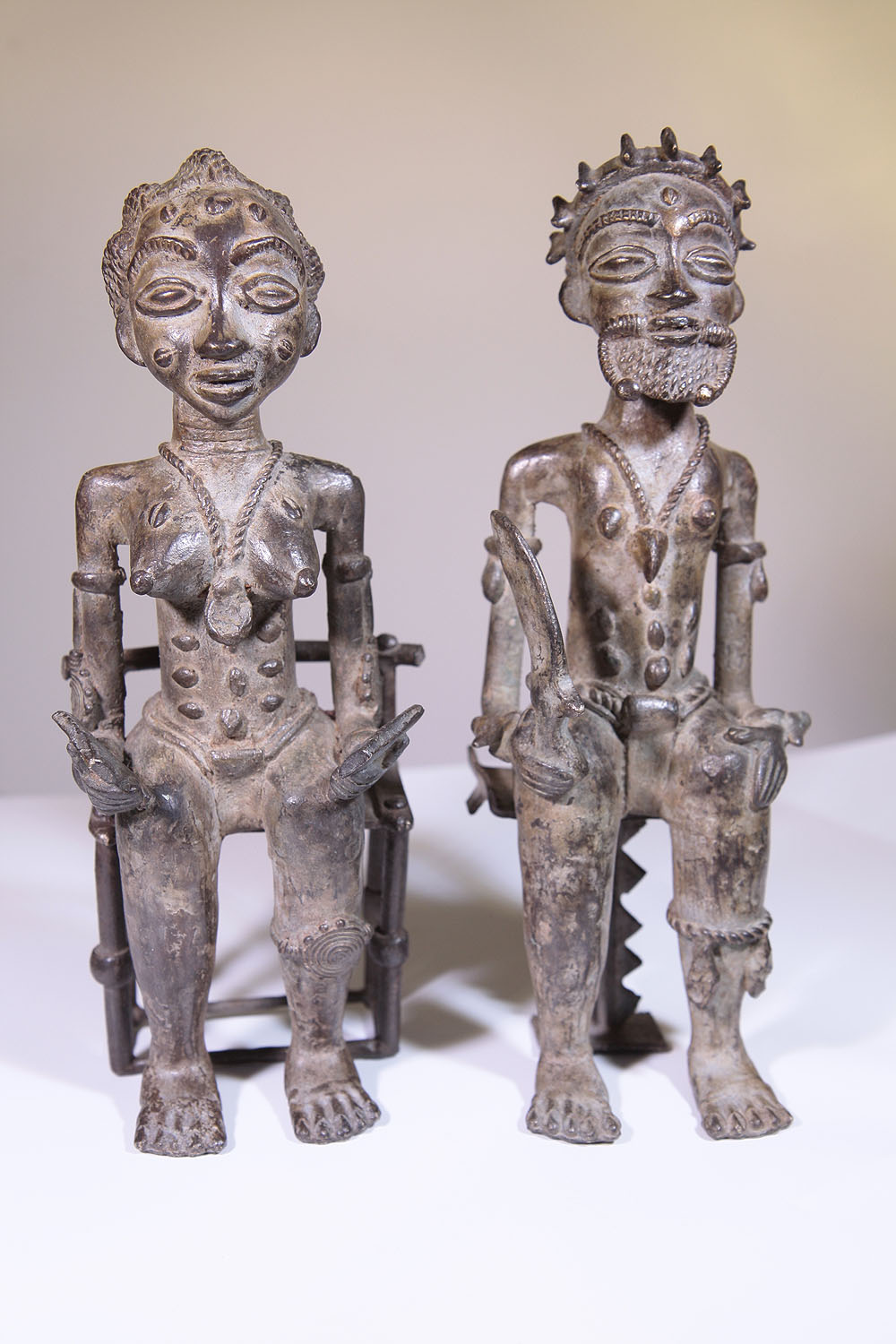 African King And Queen Bronze Baule Statue From Ivory