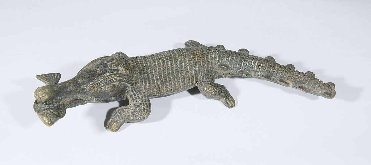 African Bronze Baule Crocodile Statue From Ivory Coast 07